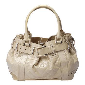 BURBERRY經典菱格紋漆皮釦環造型三層手提包(米白-展示品)