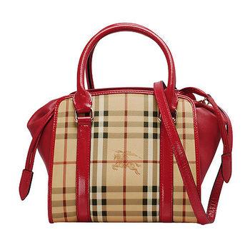 BURBERRY 經典戰馬格紋漆皮飾邊束口手提/斜背保齡球包(亮玫瑰紅)
