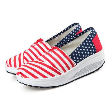 【Alice 】(現貨+預購)學院紅白條控星星健走鞋