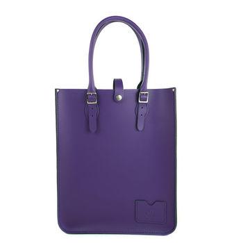 【The Leather Satchel Co.】英國原裝手工牛皮托特包 手提包 肩背包 (舞夜紫)