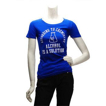 Abercrombie  Fitch 燙字化學溶液瓶短T(女-寶藍-S)