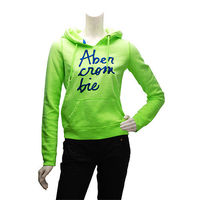 Abercrombie  Fitch 銀蔥草寫字母內刷毛長袖連帽TEE(女-淡綠-S)