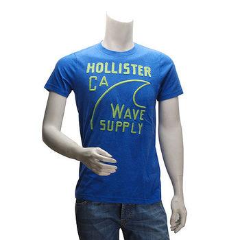 HOLLISTER Co. 美式海灘風繡字短T(男-藍-M)