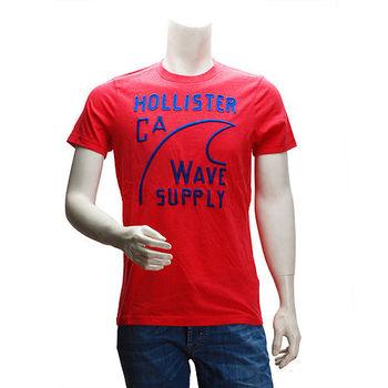 HOLLISTER Co. 美式海灘風繡字短T(男-紅)