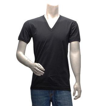 DOLCEGABBANA 簡約純色短袖V領T恤(黑)