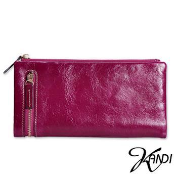 【KANDI】簡約拉鍊油蠟牛皮皮夾(共1色)