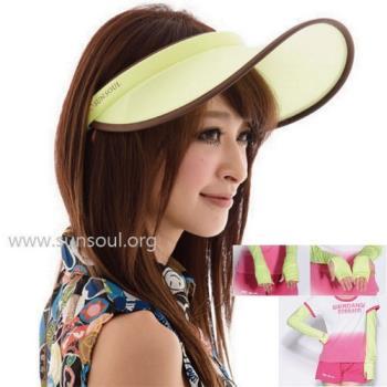 【SUNSOUL】光能帽-傑克帽+袖套組(黃光)