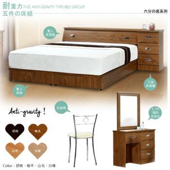 【Maslow-房東加強型】雙人五件式房間組(4色)不含床墊