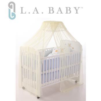 L.A BABY 豪華全罩式嬰兒床蚊帳(加大加長型)淺黃色