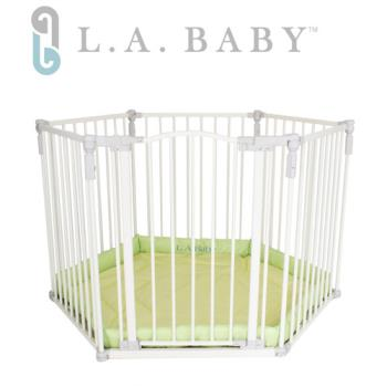 【美國  L.A. Baby 】多功能兒童安全圍欄(軟墊黃色/綠色)