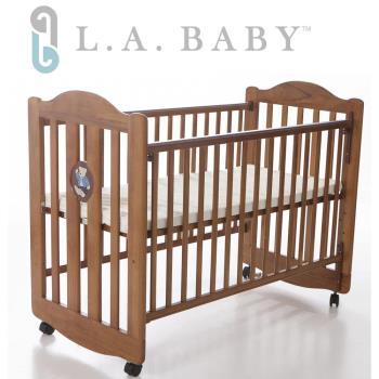 【美國 L.A. Baby】凱麗熊搖擺中小嬰兒床/原木床/童床(咖啡色)