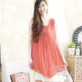 【魔法拉拉】抓摺撞色層次裙襬背心洋裝A403(輕柔桔)