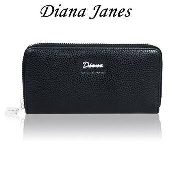【戴安娜-珍妮絲】牛皮雙拉鍊長夾