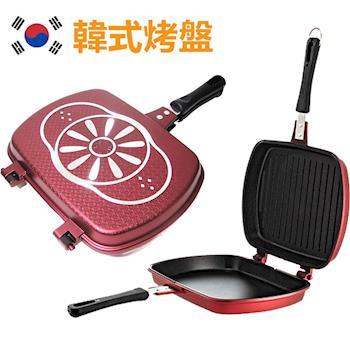 韓國大理石雙層烤盤不沾雙面鍋 一鍋變二鍋 露營夾夾鍋 PA-12(方型)