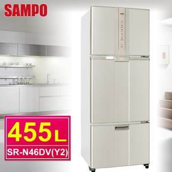 SAMPO聲寶 455公升一級變頻三門冰箱SR-N46DV(Y2)麥炫金