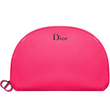 Dior 迪奧 桃色漆皮半圓美妝包