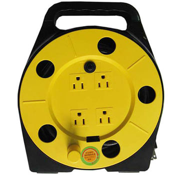 3孔4插座手提式輪座延長線~安全電源捲線器附接地9M(30尺).