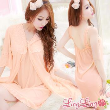 lingling日系 全尺碼-浪漫綺想睡裙+罩衫睡袍二件式睡衣組(柔美桔)A1542-04