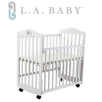 【美國 L.A. Baby】蒙特維爾美夢熊小床嬰兒床/實木/原木床(白色 適用育嬰 託嬰中心)