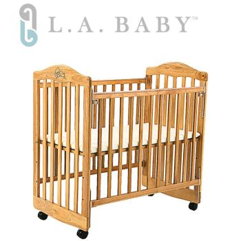 【美國 L.A. Baby】蒙特維爾美夢熊小床嬰兒床/實木/原木床(原木色 適用育嬰 託嬰中心)
