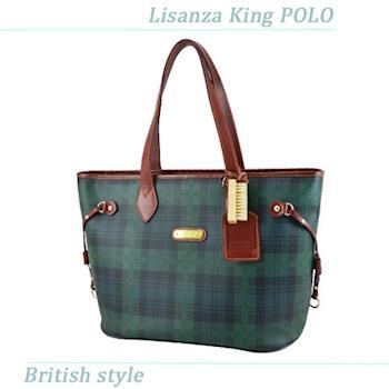 【Lisanza King Polo】 格紋抽繩肩背包