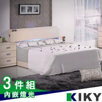 KIKY 佐佐木-白色-內嵌燈光雙人5尺三件組(床頭片+床底+床墊)