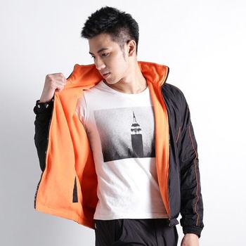 【遊遍天下】中性款雙面穿防風防潑水柔軟刷毛機能外套A080(黑/桔)