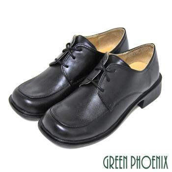 GREEN PHOENIX 六孔綁帶式方頭牛皮全真皮低跟學生鞋(女款)U14-24652