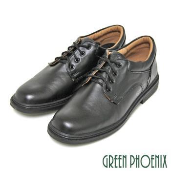 【Pretty】八孔綁帶式圓頭標準學生鞋皮鞋(男款)-黑色