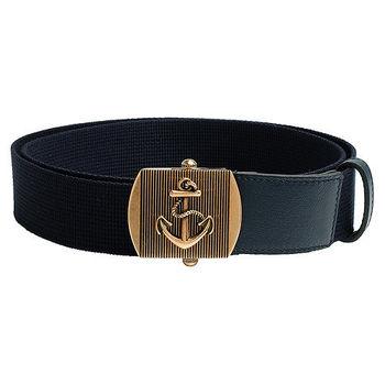 GUCCI 經典織布船錨造型金屬釦腰帶/皮帶(藍)