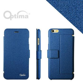 Optima iPhone 6 Plus側掀站立型皮套 義大利皮革亞麻系列-藍色