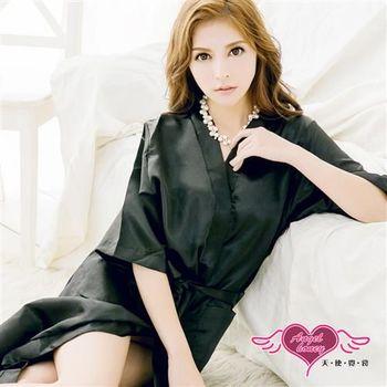 天使霓裳 罩衫 素色長版緞面綁帶睡袍(黑F)