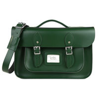 【The Leather Satchel Co.】14吋 英國手工牛皮可手提劍橋包 (郵差綠)