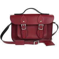 【The Leather Satchel Co.】11吋 英國手工牛皮可手提劍橋包 (葡萄紅)