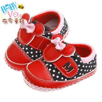 《布布童鞋》Disney迪士尼米妮90週年紀念款紅色普普風舒適學步鞋(13公分~15.5公分)MAN246A