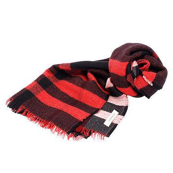 BURBERRY 經典格紋雙面兩色純羊毛大披肩/圍巾(170CM-紅色)