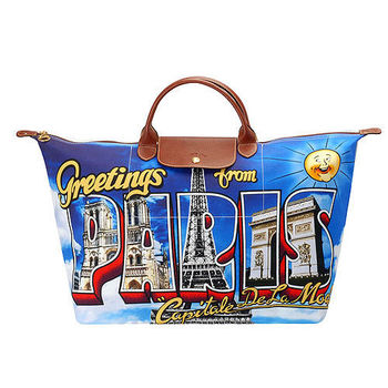 LONGCHAMP限定款Jeremy Scott巴黎明信片印花短把旅行購物包(大-彩色)