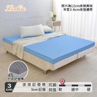 LooCa 美國Microban抗菌3cm記憶床墊-雙人