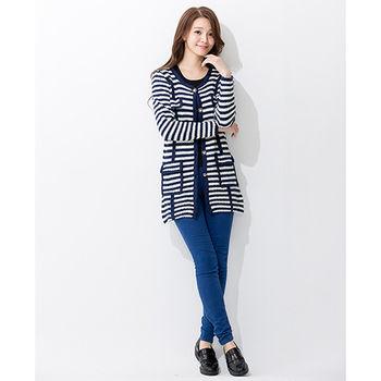 iima 日韓最夯高質感針織外套(藍條紋)