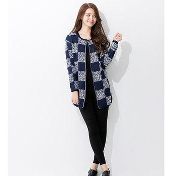 iima 日韓最夯高質感針織外套(藍格紋)