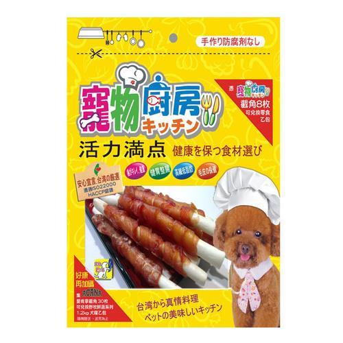 寵物廚房零食 PK-025潔牙牛奶鈣骨密汁雞肉捲-長 12支 X 1包