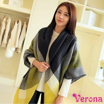 【Verona】拼色款羊絨格子大方巾批肩圍巾(限量款)