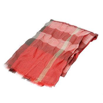 BURBERRY 經典格紋純亞麻壓皺圍巾(粉紅)