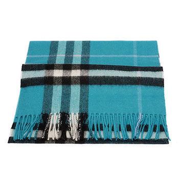BURBERRY 經典格紋喀什米爾羊毛圍巾(土耳其藍)