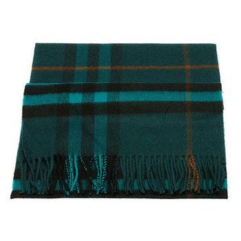 BURBERRY 經典格紋喀什米爾羊毛圍巾(孔雀藍)