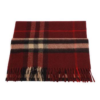 BURBERRY 經典格紋喀什米爾羊毛圍巾(酒紅色)