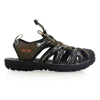 【SOFO】男護趾涼鞋-拖鞋 休閒涼鞋 軍綠黑