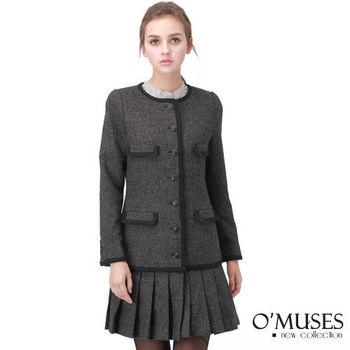 【OMUSES】毛呢百摺長版大衣外套11-9205(S-2L)