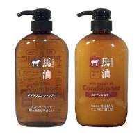 日本 KUM熊野油脂 馬油無矽靈洗髮精+潤髮乳600ml