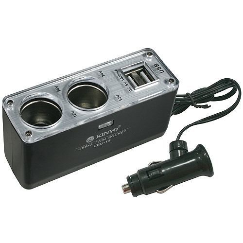 【KINYO】2孔車用點煙器擴充座+2孔USB充電槽(CRU-15)